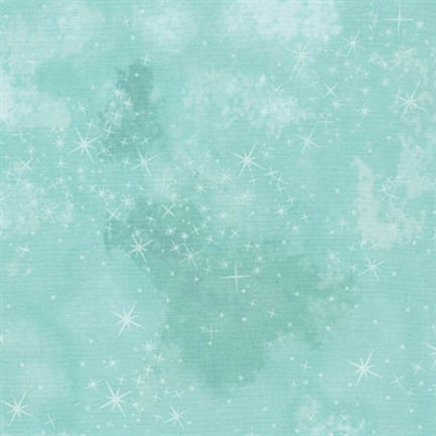 Star lacquer mottled screen print in aqua.