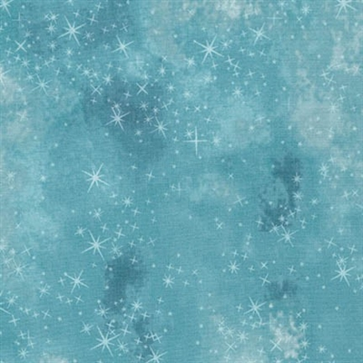 Star lacquer mottled screen print in medium blue