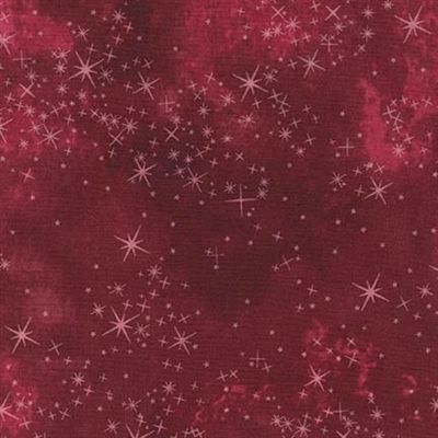 Star lacquer mottled screen print in cranberry red.