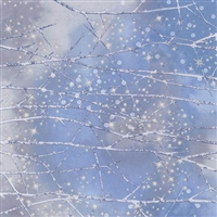 Snowy forest screen print with snowfall lacquer in lavender and periwinkle