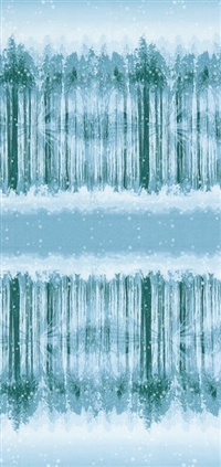 Screen printed fabric that fades from snowy forest to snowy sky and back in medium blue and green.