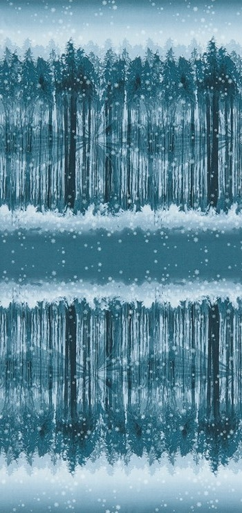 Screen printed fabric that fades from snowy forest to snowy sky and back in midnight blue.
