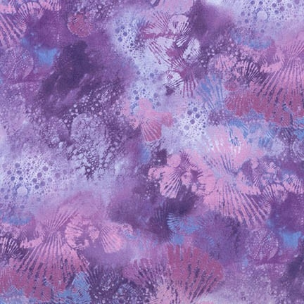 Seashell screenprint in purple with hints of blue and pale pink.