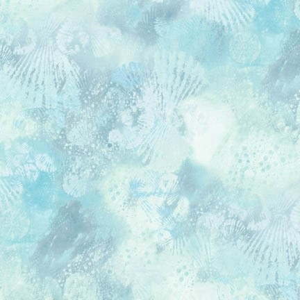 Seashell screenprint in light blue with hints of sky blue and pale green.