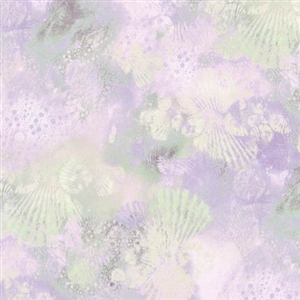Seashell screenprint in light purple with hints of deep purple and beige.