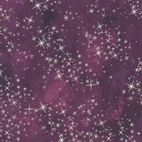 Metallic star lacquer mottled screen print in deep plum.