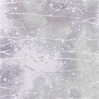 Snowy forest screen print with metallic snowfall lacquer in pale lavender and gray.