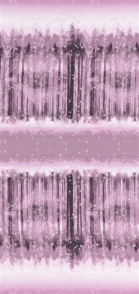 Screen printed fabric that fades from snowy forest to snowy sky and back, in plum, with metallic lacquer.