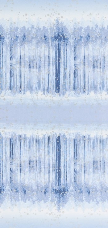 Screen printed fabric that fades from snowy forest to snowy sky and back, in icy blue, with metallic lacquer.