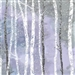 White birch forest screen print with metallic snowflake lacquer, in light to medium lavender