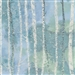White birch forest screen print with metallic snowflake lacquer, in medium blue to light green.