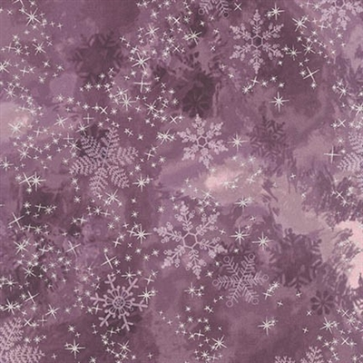 Metallic snowflake lacquer mottled screen print in deep plum.