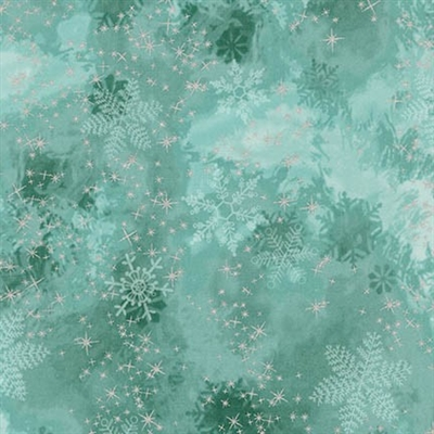 Metallic snowflake lacquer mottled screen print in light aqua to evergreen.