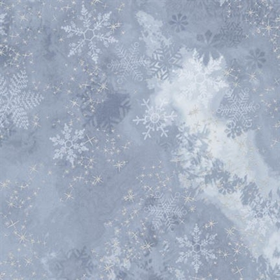 Metallic snowflake lacquer mottled screen print in light periwinkle to medium gray.