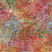 Lionfish pattern fabric in warm reds and oranges, with green, blue, purple background.