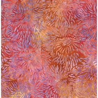 Sea Anemone pattern fabric in orange, red, and purple.