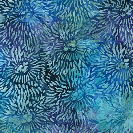 Sea Anemone pattern fabric in royal blue, aqua, and green.