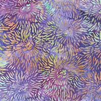 Sea Anemone pattern fabric in purple, with highlights of yellow, orange, magenta, and aqua.