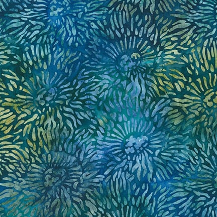 Sea Anemone pattern fabric in blue and green.