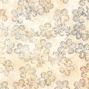 Delicate scroll batik fabric in cream, coffee, and graphite.