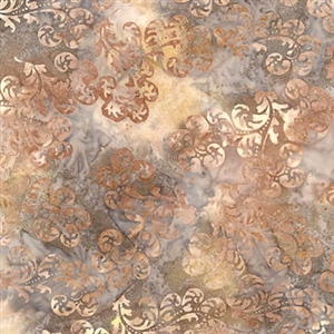 Delicate scroll batik fabric in coffee, graphite, and cream.