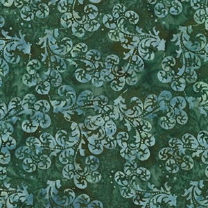 Delicate scroll batik fabric in teal, graphite, and evergreen.