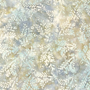 Ornate leaf batik fabric in beige, pale green, and gray blue.