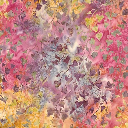 Hanging ivy batik fabric in fuchsia, and purple with hints of gold.