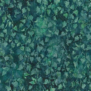 Hanging ivy batik fabric in medium and deep teal.