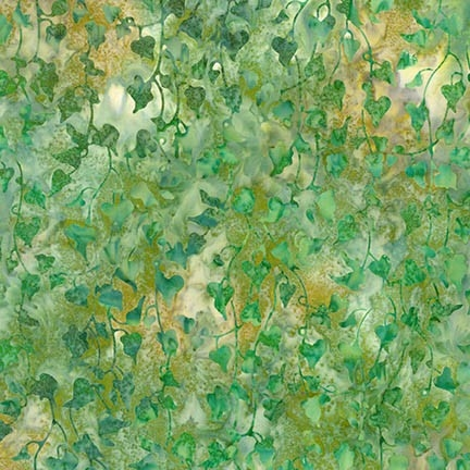 Hanging ivy batik fabric in green with hints of gold.