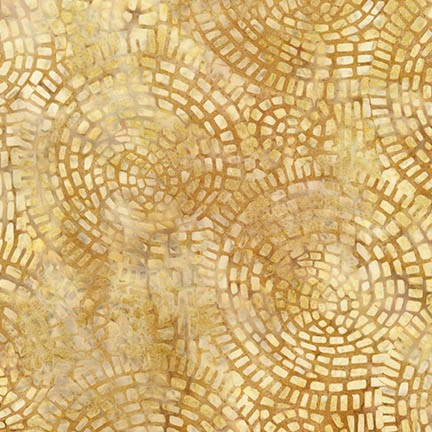 Mosaic tile batik fabric in yellow and gold.
