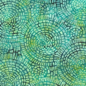 Mosaic tile batik fabric in medium green, deep teal, and and lime green.