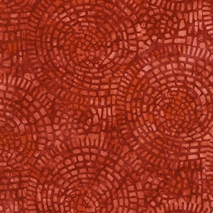 Mosaic tile batik fabric in terracotta red.