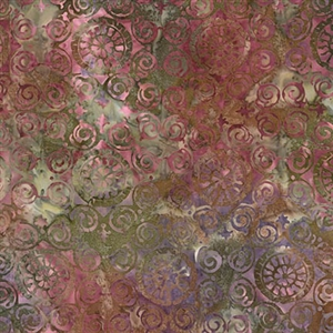 Palermo tile batik fabric in wine, earth, and moss green.