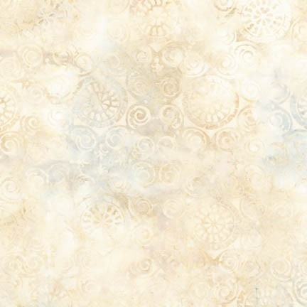 Palermo tile batik fabric in ivory, beige, and cream.