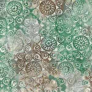 Palermo tile batik fabric in green, brown, and cream.
