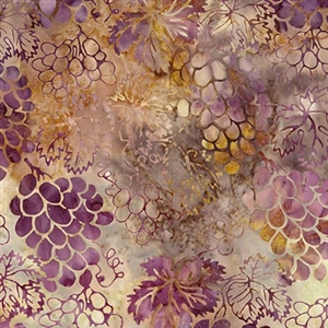Grape Vineyard batik fabric in earth, wine, and gold.