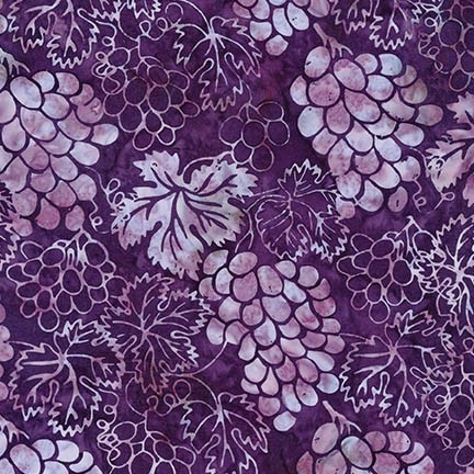 Grape Vineyard batik fabric in purple.