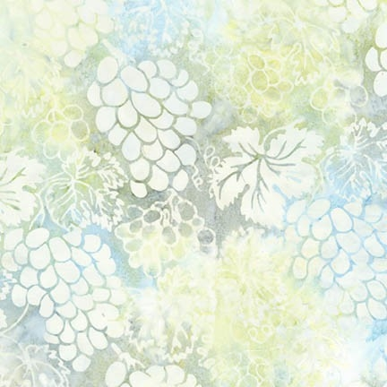 Grape Vineyard batik fabric in cream, ivory, blue, and gold.