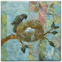 Quilt block with stylized bird watching a nest with eggs on a tree branch in pink, blue, and green floral patterns
