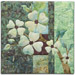 Quilt block with stylized flowers on a tree branch in green floral patterns