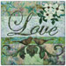 "Quilt block with the word ""Love,"" stylized flowers and birds in purple, blue, and green floral patterns."
