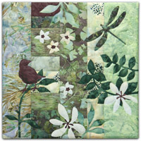 Quilt block with stylized bird on a tree branch and dragonfly in blue and green floral patterns