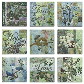 "Set of nine quilt blocks showing stylized flowers, birds, and insects, along with the words ""Faith,"" ""Hope,"" and ""Love."""