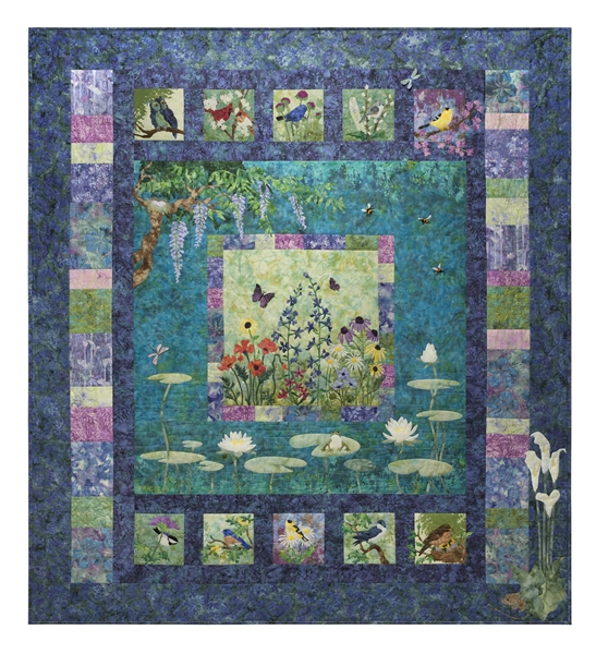 Image of full quilt based on of English garden, with birds, flowers, and a pond.