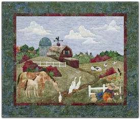 Pastoral farm scene with barn, horses and sheep grazing, geese, and a scarecrow.
