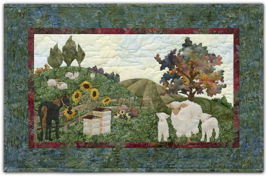 Pastoral farm scene with sunflowers, grazing sheep, a horse, and beehives.