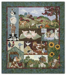 Full quilt  of a pastoral farm scene with barn, horses and sheep grazing, geese, and a scarecrow.