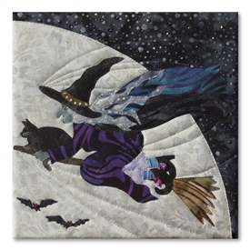 Quilt block of Witchy Poo hurrying to her book club meeting with her cat Samuel, riding on her broom in front of the large moon