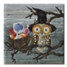 Quilt block of a wide-eyed owl and its nest full of candy